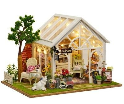 Doll House DIY Garden Room With Furniture and Accessories 1:24 Scale