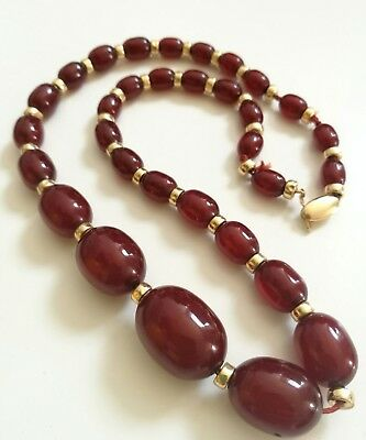 Cherry Amber Bakelite and 14k Gold Necklace.
