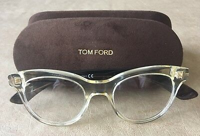 64949ba8837 Tom Ford TF 5378 Transparent Crystal Brown Women s Cat Eye Eyeglasses 49mm
