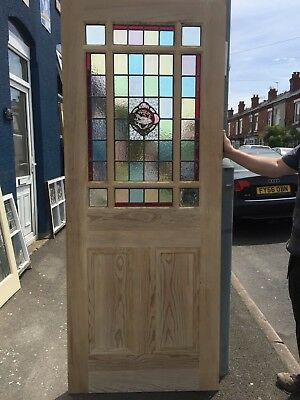 Victorian Pitch Pine Stained Glass Internal Door 40000 Picclick Uk