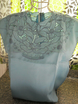 Phelps Hand Embroidered Baby Blue Hand Embroidered Cutwork Madeira Top 50S/60S