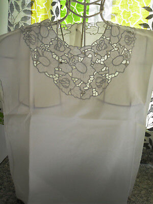 Phelps White Madeira Hand Embroidered Cutwork Embroidered Top 50S/60S Original 3
