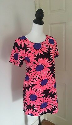 60a604fa743 Ladies CAMEO ROSE Black Pink & Blue Daisy Floral Print Tunic Shift Dress  Size 10