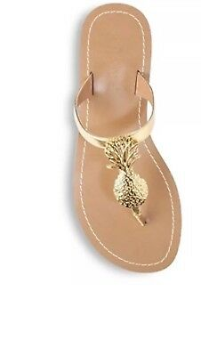 ca503468cb3 NEW Lilly Pulitzer Target Gold Metallic Pineapple Thong Sandals Flip Flop  Size 8