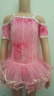 Dance Costume Small Child Pink 2-in-1 Ballet Tap Tutu Leotard Solo Competition