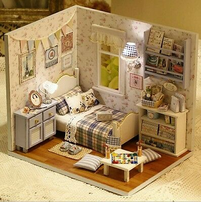 Doll House Miniature DIY Blue Bedroom With Furniture 1:24 scale
