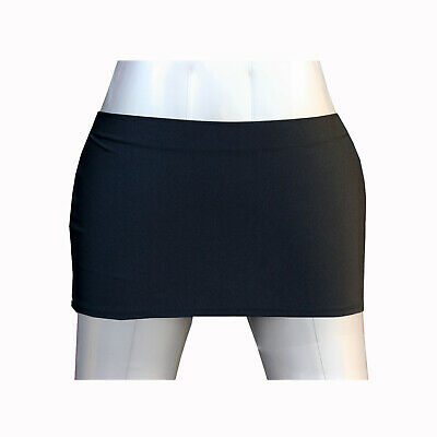 "LADIES WOMEN GIRLS BLACK SHINY LYCRA 10"" FITTED MICRO MINI SKIRT SIZE 4 to 20"