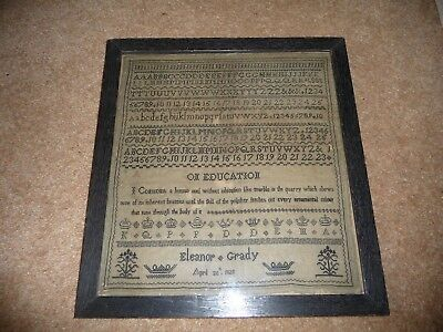 A 19thC Sampler signed Eleanor Grady possibly Scottish?