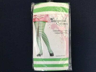 Girls white and green striped tights, enchantment costumes children's tights