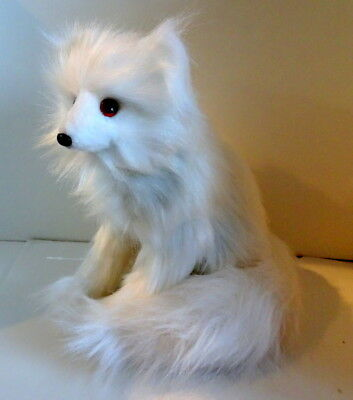 """Long Haired WHITE ARTIC FOX Pup Sitting Figure New Hand Made 10"""" $50 Ships Free"""