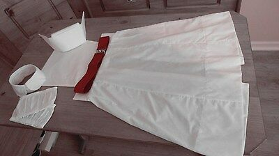 50s 60s style NURSES  APRON  COLLAR CUFFS RED BELT starched cap  cotton fabric