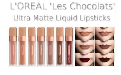 L'OREAL 'Les Chocolats' Ultra Matte Liquid Lipstick Nude Neutral Shades NEW IN!