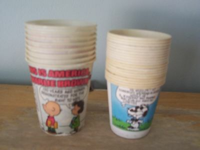 2 Sizes Of Vintage Peanuts (Snoopy, Charlie Brown) Dixie Cups- 19 Small, 8 Large