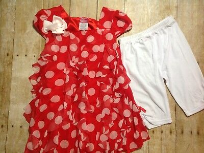 Diva, 6x Red & White Large Polka Dots & Ruffles Top, White Capris (EE036)