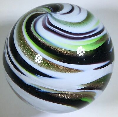 """Beautiful 1.8"""" Eddie Seese Art Glass Marble White Gold Dichro Color Swirl FES 02"""