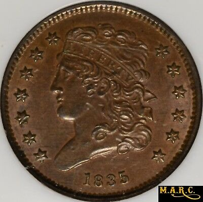 1835 MS63BN NGC 1/2C Classic Head Half Cent, Nice Brown Color!! Free Shipping!