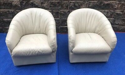 Pair Of MCM White Leather Swivel Club Chairs