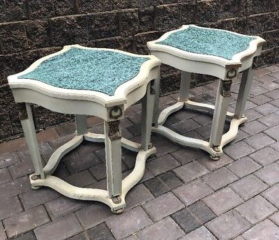 Pair Of Antique Painted Empire Neoclassical Gueridon Marble Top Wood Tables
