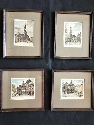 Antique Original Etching Paintings Of Brussels Belgium from the 1930's, Signed