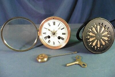 Antique French Japy Freres Clock Movement with Glass Porcelain Face Pendulum etc