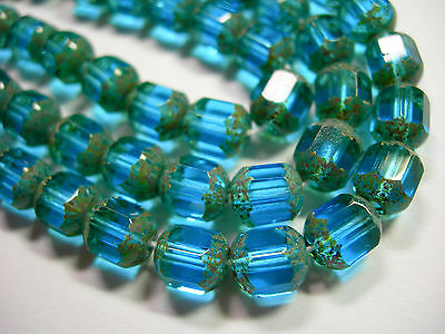 25  8mm Czech Glass Faceted Tube Beads Aqua Picasso