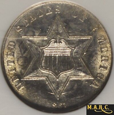 1861 MS65 NGC 3C Silver Three Cents, Clashed Dies!! Slight Attractive Toning!!
