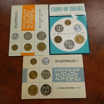 3 Israeli official mint coin sets 1965, 1966, 1967
