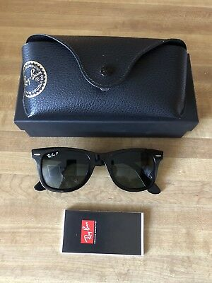 Polarized Ray Ban Original Wayfarer RB 2140 901 58 Black Sunglasses Green  50mm aad6d1c636