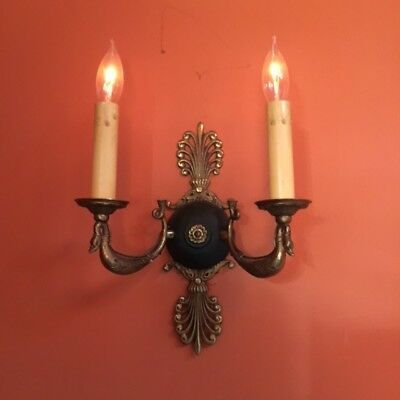 1920's French Empire candelabra style antique brass sconces 2 pairs (4)
