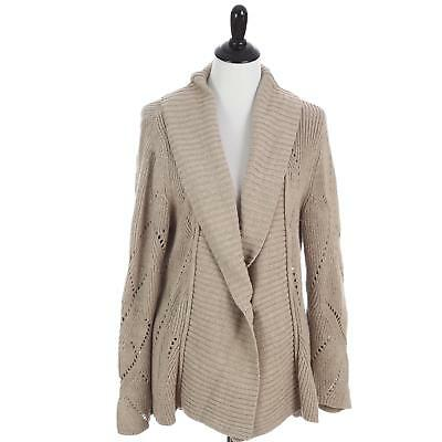b1e626f49bd6 Coldwater Creek Sweater Beige Cardigan Shawl Collar Open Front Women s Large
