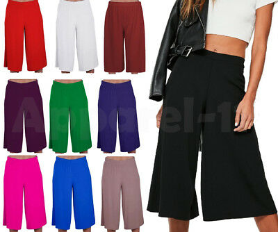 Ladies Women's Elasticated Stretch Wide Leg Culottes 3/4th Length Plus Size 8-26