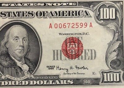 1966 $100 ONE HUNDRED DOLLARS LEGAL TENDER, US NOTE, VF to XF