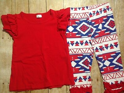 Girls Red White Blue Outfit, 2XL 7-8, Red Top, Aztec Print Pants (EE041)