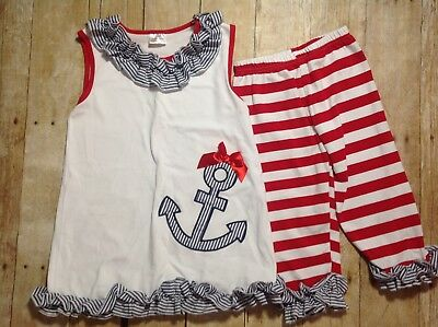 Girls  Red White Blue, Anchor, Ruffles, Size 7-8 Pants & Top, Beach  (EE040)