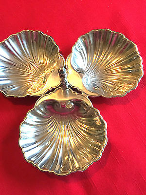 Three Sectioned Scallop Shell Dish Silver With Minters Marks