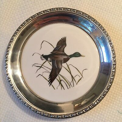Frank M Whiting Sterling Silver Rim Wine Bottle Coaster MALLARD Hand Colored