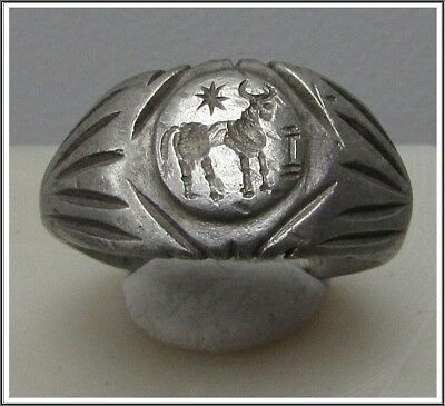 ** MITHRAS BULL ** Ancient Silver Legionary Roman Ring **AMAZING **