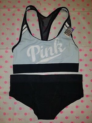 d44cd6dfc987e NWT Victoria s Secret PINK Ultimate Sports Bra Panty Set M - Blue Black  White