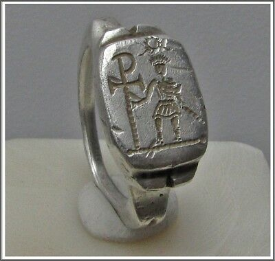 ** HONORIUS with CHI-RHO **Ancient Silver Roman Legionary Ring **AMAZING **11g