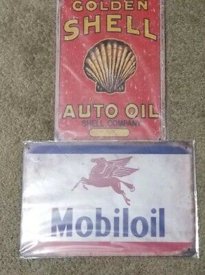 2 Lot Shell Golden Shell Auto Oil & Mobil Oil Tin Sign Vintage Style Gas