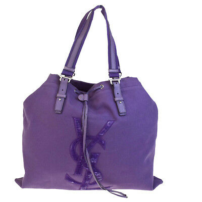 Auth YVES SAINT LAURENT YSL Shoulder Bag Canvas Leather Purple Italy 09BA145 30ae986b3fb10