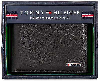 Leather New Tommy Hilfiger Lloyd Men's Black Bifold Passcase Credit Card Wallet