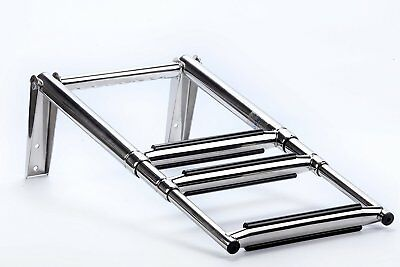 3 Step Telescoping Swim Marine Boat Ladder Stainless with Built in Handle * USA