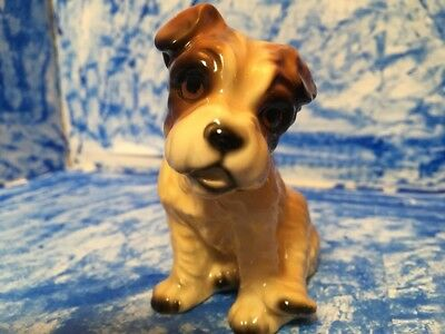 Standing Wire Hair Fox Terrier Puppy Dog Figurine  Japan Glossy Vintage