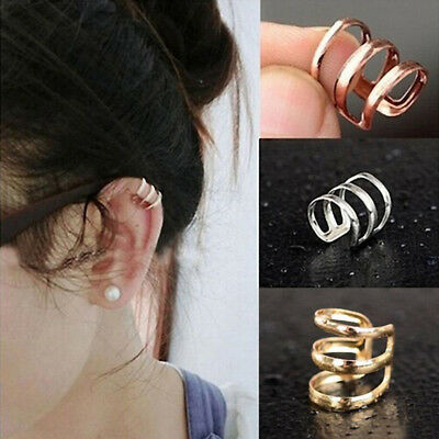 Womens Ear Cuff Earrings Wrap Fashion Clip On Punk Rock Cuffs Fake Stud Silver