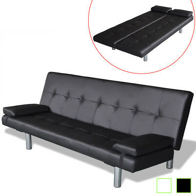 Artificial Leather Convertible Sofa Bed Futon Couch Black/White
