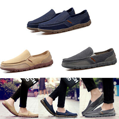 06447a0ee46 Men s Vintage Canvas Slip-on Loafers Non-slip Walking Sneakers Driving Shoes
