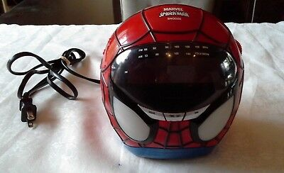 Spider-Man Projection Clock With AM FM Radio Rare Marvel HTF Excellent Working