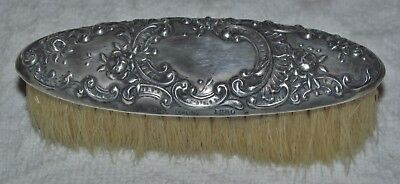 Ornate Victorian Sterling Silver .925 Gorham Repousse Dresden Rose Wreath Brush