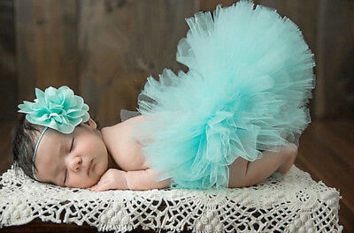 Newborn Tutu Skirt +Headband Baby Girls Knitted Crochet Photography Prop /06